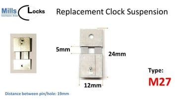 Steel Clock Suspension Spring. (24mm x 5mm x 12mm) (Type M27)